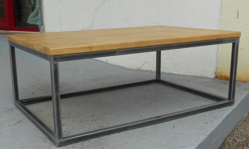 table acier et bois tables basses. Black Bedroom Furniture Sets. Home Design Ideas
